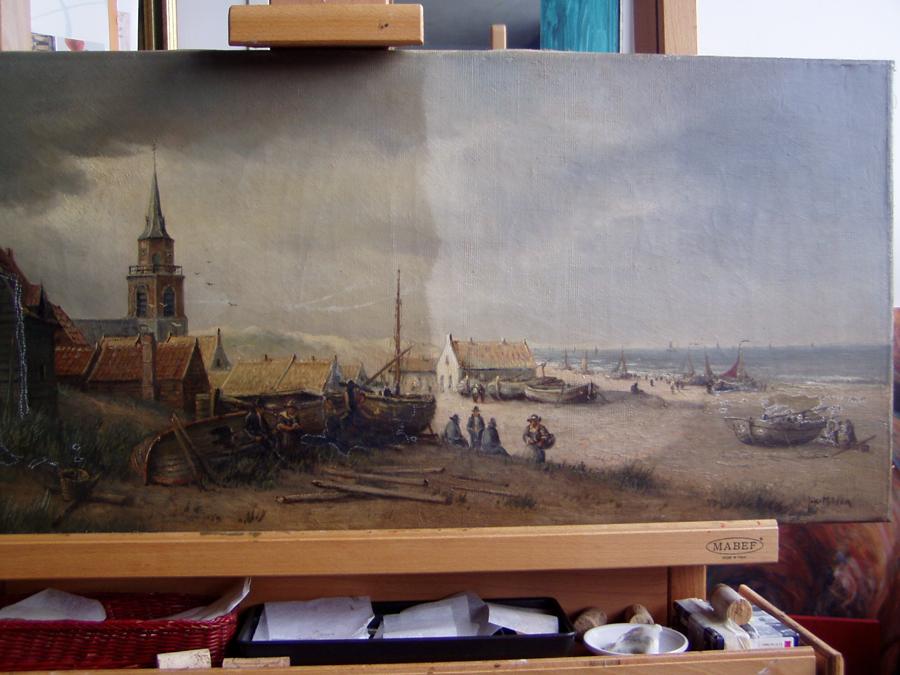 Een schilderij halverwege het restauratie proces